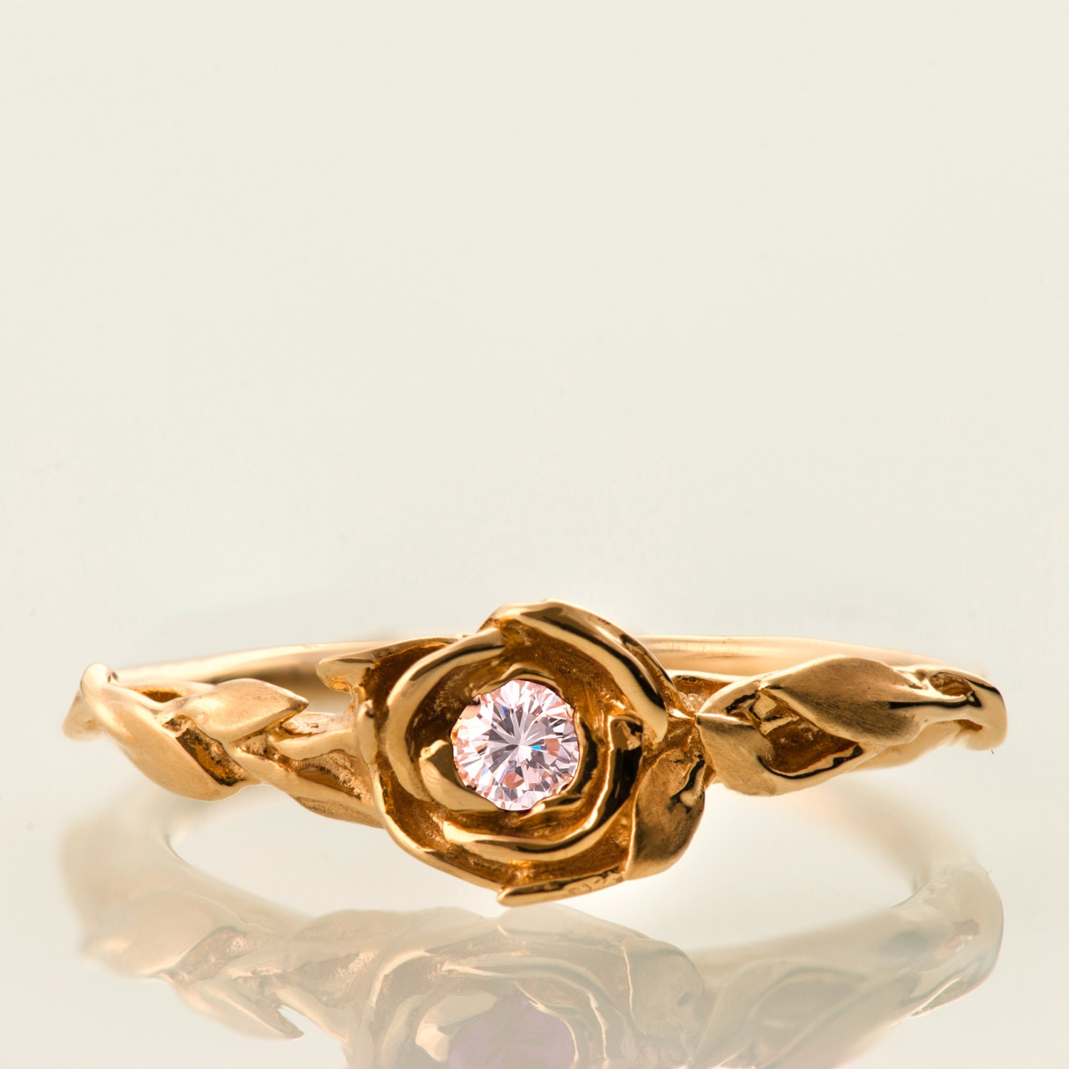 ring rings rose with diamond knife round modern in edge engagement solitaire rev shank gold prong