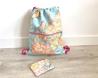 Mochila mapamundi, MAPA, mochila saco, mochila tela, tela mapamundi, mapamundi, cartografía, monedero mapa, mapa, monedero, mochila mapa