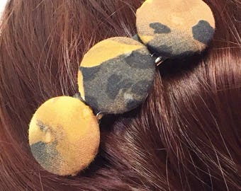 Black and Gold Fabric Covered Button Barrette- Free Shipping in the US