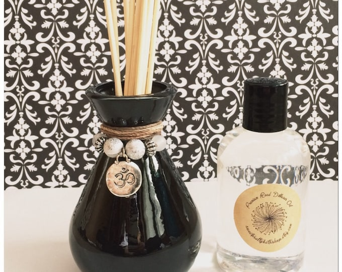 Black Glass Reed Diffuser Gift Set-Choose Your Scent & Charm/Ohm/Yoga/Meditation