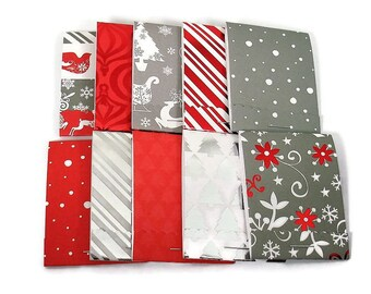 Set of 20 Matchbook Notepads  Baby Shower Favors Mini Note Pads in Red and Gray Holiday