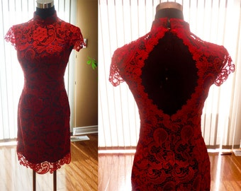 Red lace cheongsam, Wedding Cheongsam, Red lace bridesmaid dress, Christmas Party Dress