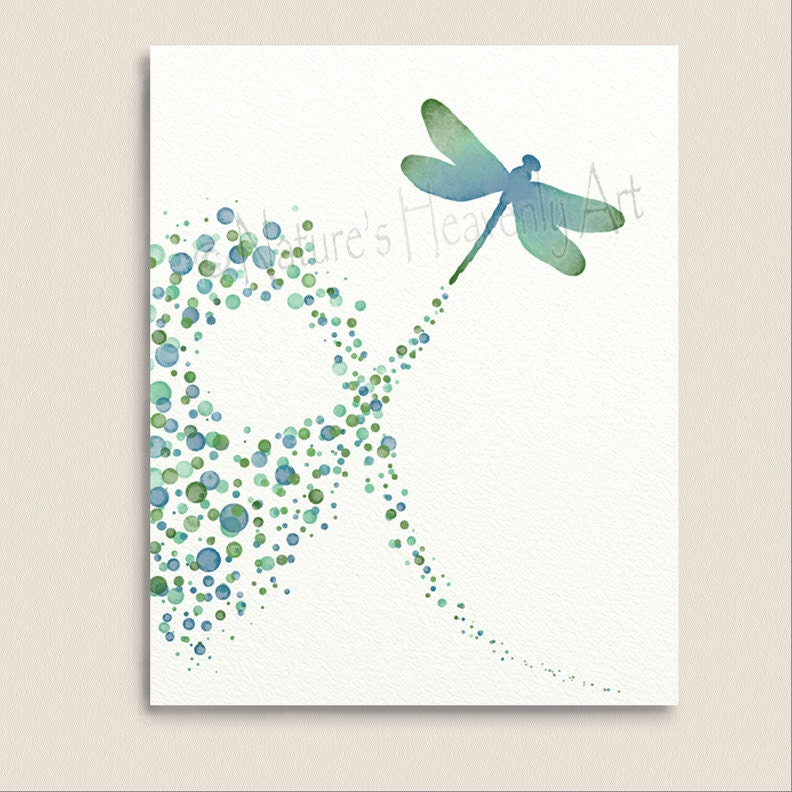 Blue Green Wall Art Dragonfly Decor For