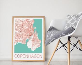 Copenhagen Map/Copenhagen Print/Copenhagen Map Print/Copenhagen Map Art/Copenhagen Poster/Copenhagen Art/Travel Art/Travel Poster/Denmark