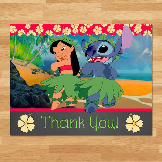 Lilo & Stitch Thank You Card Instant Download Folded - Chalkboard - Lilo and Stitch Thanks - Lilo and Stitch Birthday Party Printables