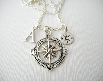 Compass- Initial Necklace/ Gift for best friend, Birthday Gift, best friends necklace, Friend, Bff gift, bff jewelry, Friends Forever