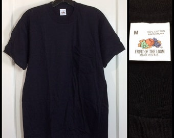 deadstock 1980s Fruit of the Loom pocket tee thin plain blank t-shirt size medium 19x28 black all cotton NOS made in USA #2