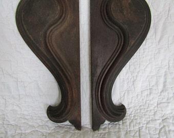 Vintage Wood Salvage Brackets Solid Wood Nice Style