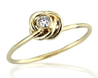 Floral Diamond Ring, 18K Gold Diamond Ring, April Birthstone, Diamond Ring, Unique Engagement Ring, Twisted Floral Diamond Engagement Ring
