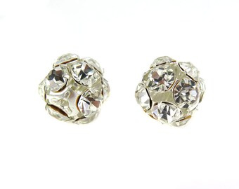 Vintage West German Rhinestone Ball Beads -Silver & Clear - (2X) (S567)