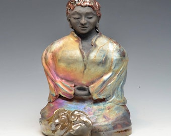 Large Female Black Buddha Statue Original Figurative Sculpture Art Meditation Raku Ceramics Anita Feng