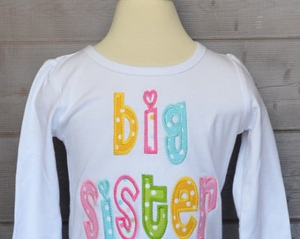 Personalized Big Lil Sister Big Lil Brother Applique Shirt or Bodysuit Girl or Boy Add Triple Ruffle Pants