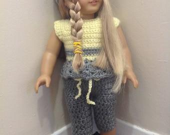 "18"" Doll, 4 piece Grey/Yellow."
