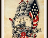 USN Traditional Tattoo Flash Print Nautical Sailor Designs In Vintage Americana Style Wall Art 6x8