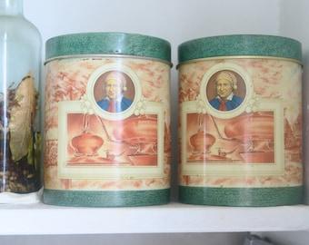 Pair of Vintage tin box