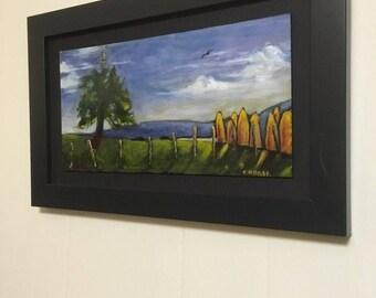 Contemporary landscape painting, acrylic, greenbank farm