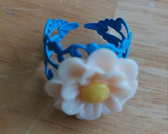 Blue and peach flower adjustable ring