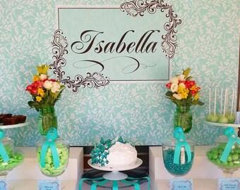 BOTANICAL aqua and black Printable Party 72x39 Backdrop - for wedding, bridal shower, birthday, baby shower  You Print