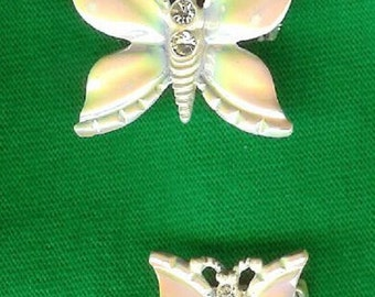 Pair of Unusual 1960's Vintage Pearlized Enamel Butterfly Brooches/Pins-As New