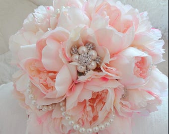 Pale pink peony bridal bouquet with pearl and brooch embelishment wedding bouquet peonies lace