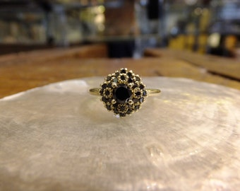 14k gold & black diamond victorian ring