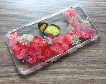 Genuine pressed dried flower iphone case - iphone crystal clear case