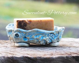 Soap Dish, Pottery Soap Dish, Handmade Soap Dish, Succulent-Pottery, Soap Holder, Handmade, Blue Soap Dish, Hand Made