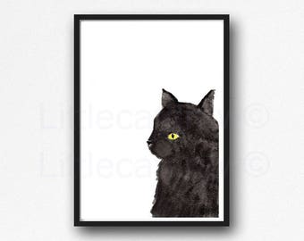 Black Cat Print Fluffy Cat Watercolor Painting Art Print Cat Decor Black Cat Wall Art Cat Lover Gift Wall Decor Unframed
