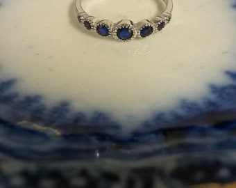 Sterling Silver 925 Cornflower Sapphire 1/3ct Band Daughter Promise Ring R52