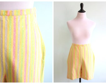 Vintage 1960's Yellow Striped High Waist Shorts | Size Extra Small