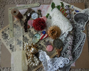 Victor Victorian Mixed Media Altered Art Lot Fashion Paper Goods PC Pendants bits and pieces Upcycled