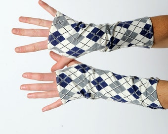 Argyle patterned gloves, Checkered fingerless gloves, White, grey, blue jersey fingerless gloves, Argyle armwarmers, Gift for women, MALAM