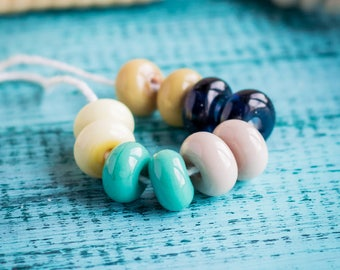 Spacer beads_tiny 10 mm_artisan glass_set of 10_banana mustard yellow_mint green_dark blue_pale pink_small bead pairs_multipurpose DIY kit