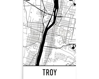 Troy Map, Troy Art, Troy Print, Troy NY Poster, Troy New York Wall Art, Map of Troy, Troy Gift, Troy Decor, Troy NY, Troy Map Art Print