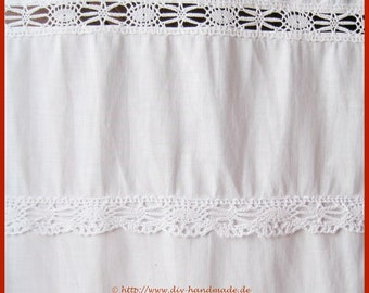 white Curtains with lace made of fine cotton, vintage white drapery, net curtain, l 132 cm, b 48 cm, tunnel width 4,5 cm,