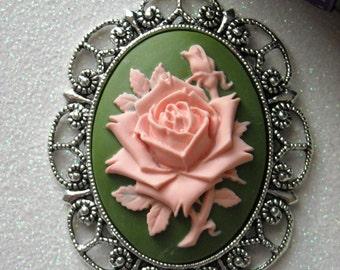Pink Rose Antique Silver Brooch