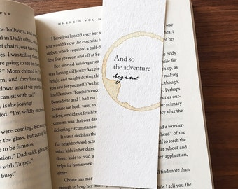 And so the adventure begins bookmark, Gift for traveler, Unique bookmark, Wedding gift, Gift for her, Gift for reader, Adventure bookmark