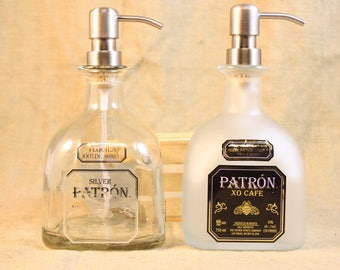 Recycled Patron or Patron XO Frosted Bottle, Patron Soap or Lotion Dispenser, Patron 750ml Liquor Bottle Pump, Man Cave Decor, Barware