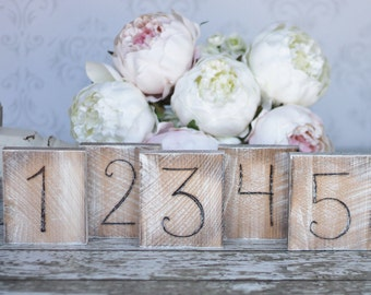 Rustic Wood Table Numbers Distressed Whitewashed Outdoor Barn Elegant Wedding Engagement Bridal Shower Birthday Party Decor