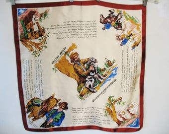 Vintage 1960s Australian Waltzing Matilda Song Lyrics Story Satin Acetate Square Neck Scarf Made in Japan 27x26