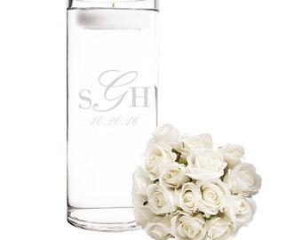 Personalized Glass Monogram Wedding Floating Candle