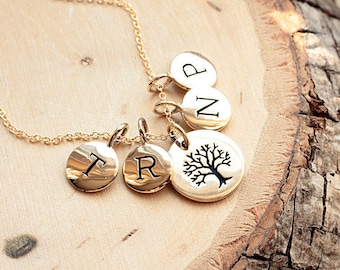 Mother's Necklace, Personalized Family Tree Necklace, Gold Initial Charm Necklace - FOUR Tiny Initial Disc Charms - Gold Filled Necklace