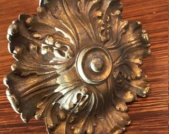 Antique BRASS CURTAIN TIEBACK Heavy Solid Brass