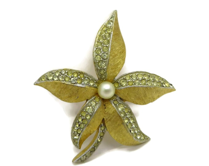 Vintage Poinsettia Brooch, Flower Pin, Signed Weiss Jewelry, Goldtone Floral Pin, Mid Century Brooches, Gift Ideas