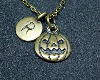 Bronze Pumpkin with Initial necklace, initial charm, pumpkin charm, pumpkin pendant, Halloween charm
