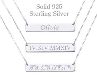 925 Sterling Silver Bar Necklace Personalized Bar Necklace Name Necklace Name Plate Necklace Monogram Necklace Initial Bridesmaid Gift