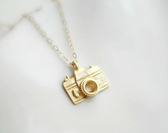 Small silver camera necklace photographer gift for her photo little camera necklace in gold or silver gift for photographer gold camera pendant minimalist modern 14k gold filled necklace gift for her mozeypictures Image collections