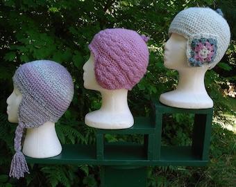 Winter Chic Earflap Caps - PA-105 - Crochet Pattern PDF