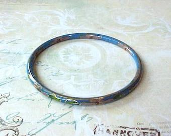 Lovely Cloisonne Bangle Bracelet of Sky Blue with Little Flowers