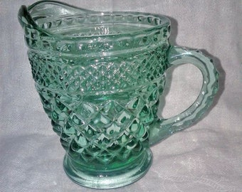 """Vintage Green Wexford Creamer Anchor Hocking Glass 4"""" Tall 4.5"""" Wide"""